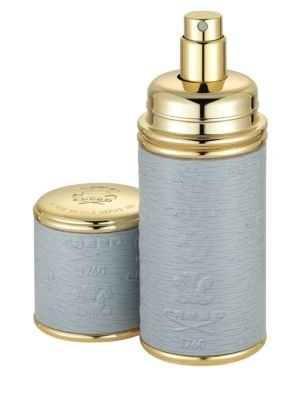 Refillable Leather & Goldtone Pocket Atomizer/Grey