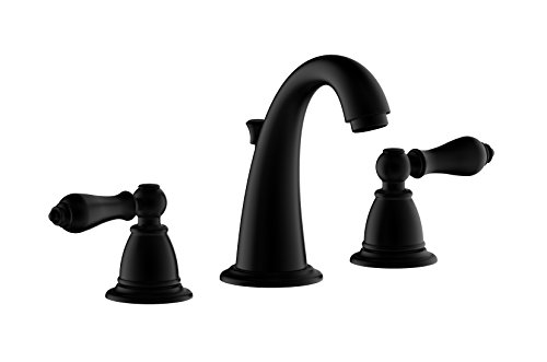 "Weco Kitchen and Bath Industry Co. ,Ltd. Derengge F-9301-MT 8"" Two Handle Widespread Bathroom Faucet with Pop up Drain Assembly, Matte Black price tips cheap"