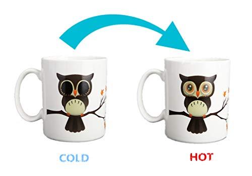 Heat Changing Mug Colour Changing Mug Magical Coffee Mug Tea Cup (New Owl)]()
