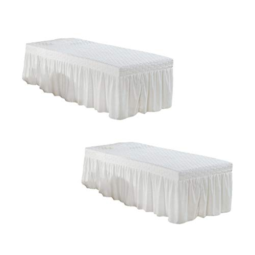 Fityle 2Pcs White 73×28 inch Microfiber Beauty Thickening Massage Table Skirt Bed Cover Solid Color
