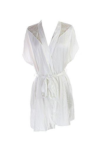 Betsey Johnson Women's White Sultry Satin Wrap, (Betsey Johnson Satin Robe)