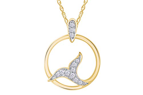Wishrocks Round Natural Diamond Accent Tail Pendant Circle Frame 14k Yellow Gold 0.11cttw. (14k Yg Frame)