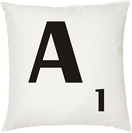 Cojines con la LETRA A imitación fichas de Scrabble o apalabrados. Medida 45X45 cm. Color blanco. Solo funda: Amazon.es: Hogar
