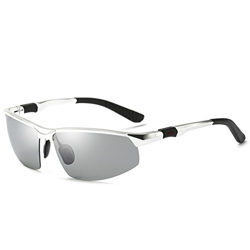 polarizado Nocturna de KOMNY de conducción los Sol de la Gafas y Fotosensibles visión Sol Gafas de de Color Gafas Conductor de de Gafas Gafas Noche Silver decoloración Frame Discoloration de día Marco de Hombres la Plata de FwgE4wqr