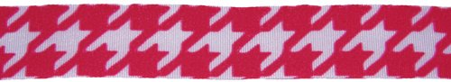 7/8 Inch Wide Shock Pink Houndstooth Offray Polyester Ribbon, 5 Yards