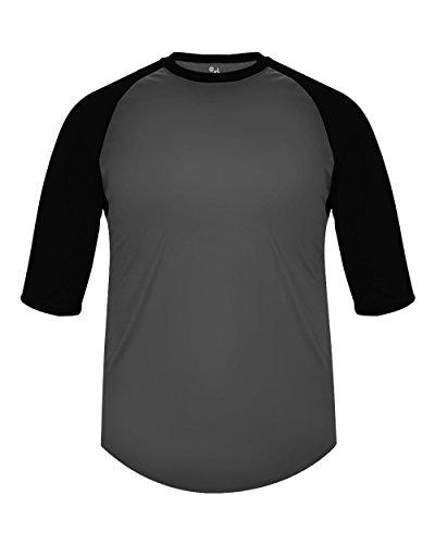 (Badger Sport Adult XL Graphite with Black Sleeves Raglan 3/4 Baseball & Softball Undershirt/Jersey Top)