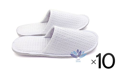Waffle Cotton Cloth Closed Toes Unisex Slipper Slippers Salon Spa Hotel Travel - 10 Pairs - White by Bestdeallux