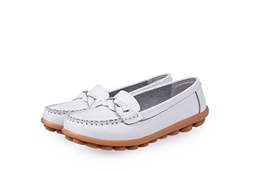 Yinhan Womens Loafers Boat Shoes Casual Driving Slip On Flats White hrw7V9