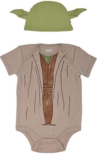 Star Wars Yoda Baby Boys Short Sleeve Costume Bodysuit & Cap Set Newborn -
