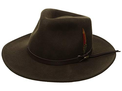 Scala Classico Men's Crushable Felt Outback Hat, Olive, -