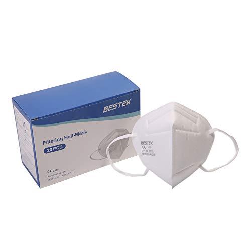 BESTEK Maske FFP2 NR CE Zertifiziert CE 0370, Faltbare Staubschutzmasken Atemschutzmaske mit 5-lagige Mundschutz, KN95 Masken, 20 Stück
