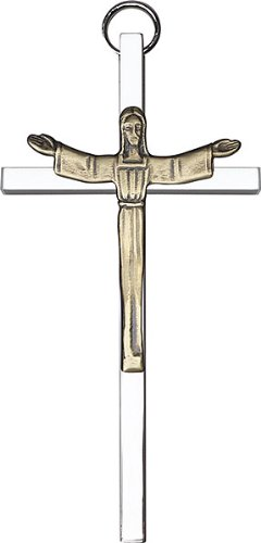 4 inch Antique Gold Risen Christ on a Polished Silver Finish Cross