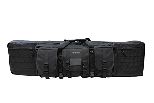 YONGCUN Gun Bag Gun Case Rifle Bag Double Tactical Bag Carbine Cases Long Gun Case Bag Tactical Gun Bag 42inch Black 600D Waterproof PVC