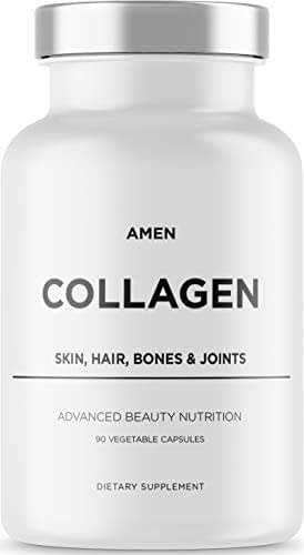 Amen Multi Collagen Pills with Hyaluronic Acid and Vitamin C, 5 Type Hydrolyzed Collagen Protein Peptides, Types I II III V X, 30 Servings, 90 Capsules