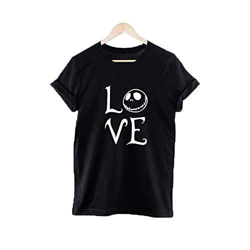Halloween and Christmas T-Shirt Women Funny Love Jack SkellingtonT Shirt Nightmare Before Christmas Tee Shirt Femme]()