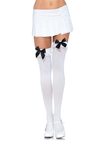 Leg Avenue Womens Chiffon Ruffle and Satin Bow Thigh Highs -