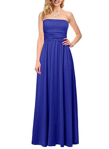Womens Casual Off Shoulder Long Empire Maxi Tube Dress Blue L