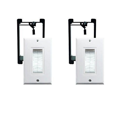 Brush Wall Plate with Single Gang Low Voltage Mounting Bracket,Yomyrayhu,Works Great with Audio/Vedio,HDMI,Home Theater(2 Pack) ()
