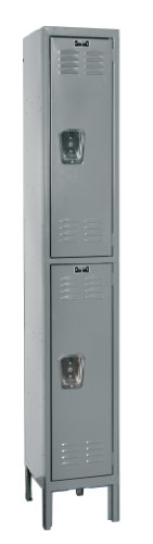 Hallowell U1588-2A-HG Hallowell Gray Steel Premium Wardrobe Locker, 1 Wide with 2 Opening, 2 Tier, 15