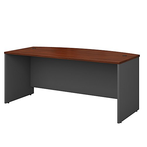 Front Desk Furniture - Bush Business Furniture Series C 72W x 36D Bow Front Desk in Hansen Cherry