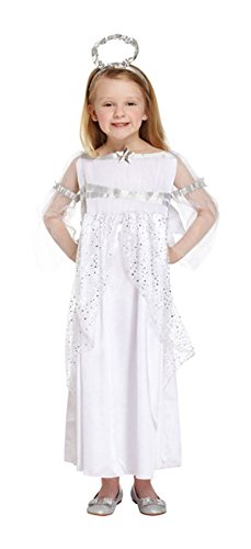 Rimi Hanger Girls Angel Costume Silver Halo Wings Gown Outfit Kids Xmas Nativity Play Dress Angel 7-9 ()