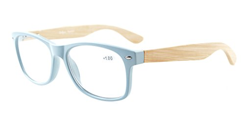 Eyekepper Readers Wide 80's Spring Hinges Bamboo Wood Temples Reading Glasses Grey Frame - Temples Wood