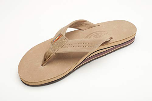Rainbow Sandals Men's 2 Tone Leather Double Stack, Classic Mocha, XX-Large (12-13.5)