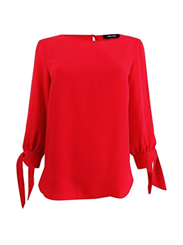 Nine West Women's Crepe Blouse with 3/4 Bow Sleeve Detail, Cherry XS
