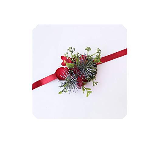 koweis Bride Wedding Wrist Corsage Groom Boutonniere Artificial Silk Orchid Flowers Cypress Leaves Bracelet Prom Party Corsages,Wrist Corsage-B ()