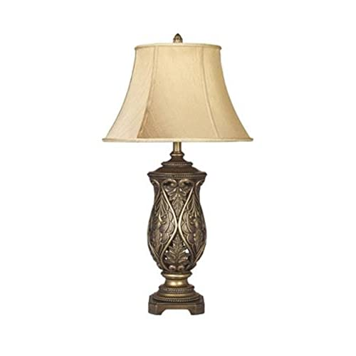 Delightful Ashley Furniture Signature Design   Katarina Poly Table Lamp   Traditional  Gold Bell Shades   Set Of 2   Antique Brass Finish
