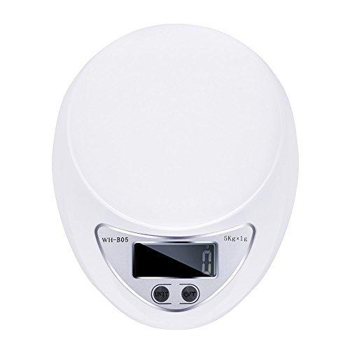 TopYart 5Kg x 1g Digital Electronic Kitchen Food Scale, LCD Display, White
