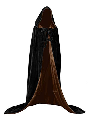 Unisexe Cape Mdivale  Capuche Longue Velours Dguisement Costume Cape de Prince Princesse Maquillage Halloween No?l Black-brown