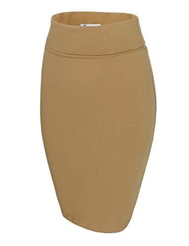 TAM WARE Womens Casual Convertible Knee Length Pencil Skirt TWCWS02-BEIGE-US L -