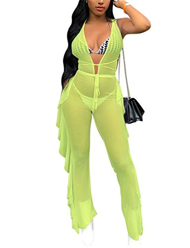 (VOIKERDR Women Sexy Deep v Gauze See Through Mesh Frilled Wrinkle Solid Color Jumpsuits Clubwear)
