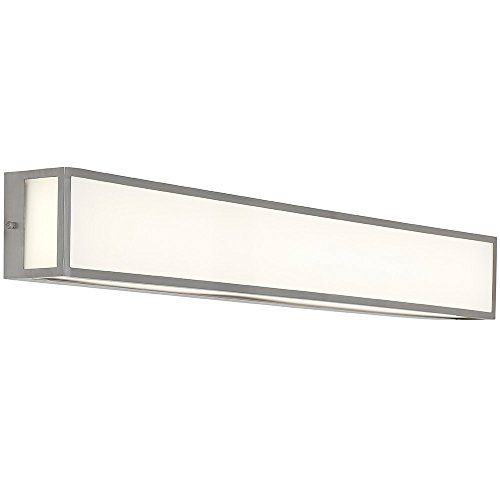 NEW Modern Vanity Light | Frosted LED Brushed Nickel Wall Mounted Lighting | Vertical or Horizontal Box Light | 3000K Warm White 36'' by Hamilton Hills