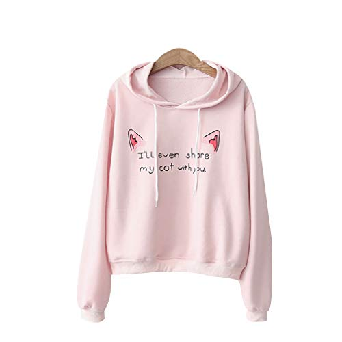 Hoodie Oreilles Chat Lettres De Pink Pull À Tops Stamping Longues Manches Femmes Windy5 Sweat wxn0XFq8Hz