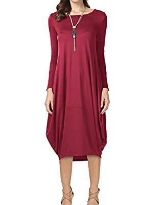 levaca Women's Plain Oversize Long Sleeve Pockets Loose Casual Baggy Midi Dress