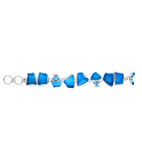 (Sterling Silver Ocean Side Sea Glass and Blue Topaz Bracelet 7