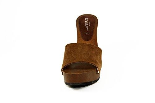 SilferShoes - Zoccolo in vero legno e pelle di camoscio, colore cuoio