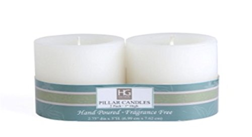 HG Global Hosley Unscented 3 Inch Pillar Candles, Set of 4