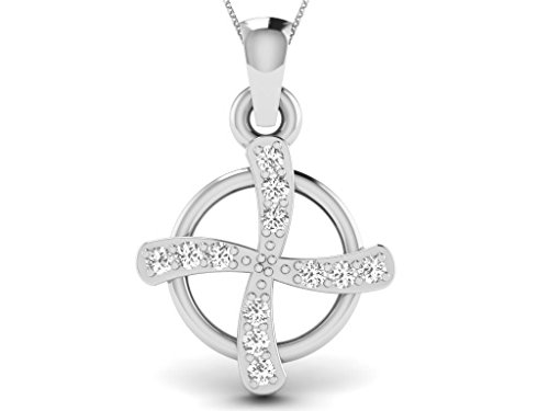 Or Blanc 18 ct Pendentifs Diamant , 0.02 Ct Diamant, GH-SI, 0.58 grammes.