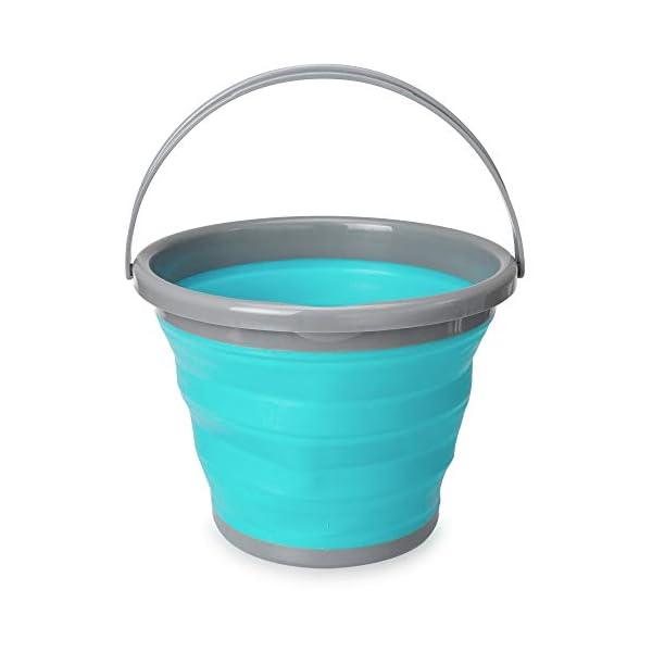 Navaris Falteimer Silikon Eimer faltbar - 5l Putzeimer Silikoneimer für Reinigung Camping Angeln Küche - 5 Liter…
