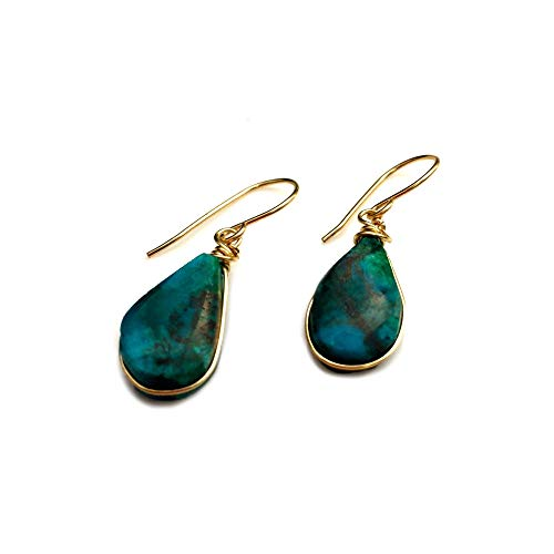 RUMI SUMAQ Chrysocolla Blue Green Earrings Wrapped in Premium 14K Gold Fill Wire with Dangling Teardrop Stones: Handmade Healing Gemstone ()
