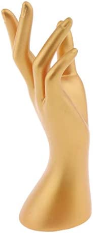 perfk Schaufensterpuppe Handmodell Schmuck Armbänder Ring Uhr Halskette Halter Display Mannequin Model Puppe Training Modell - Gold