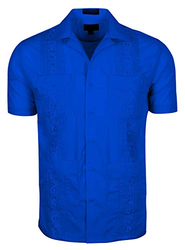 TrueM Men's Short Sleeve Cuban Guayabera Shirts (S, Royal Blue) ()