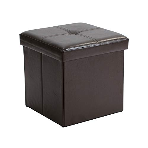 Simplify F-0625-Chocolate Folding Storage Ottoman, Toy Box Chest, Faux Leather,Tufted Padded Seating, Bench, Foot Rest, Stool, Single, Chocolate