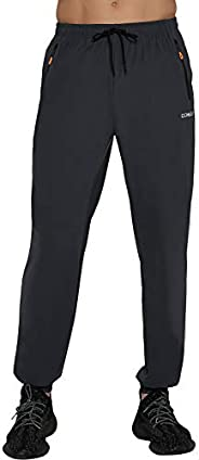 DEMOZU Men's Lightweight Joggers Nylon Running Athletic Training Workout Hiking Tapered Jogger Pants with