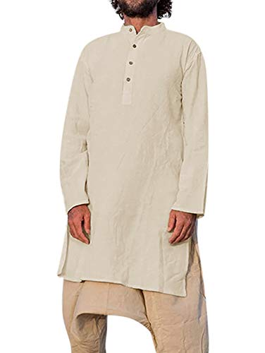 Makkrom Mens Kaftan Abaya Henley Long Shirts Linen Banded Collar Long Sleeve Loose Arab Islamic Muslim Tops