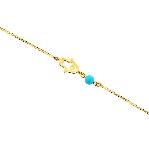 18K Yellow Gold Tiny Open Hamsa Hand with one Paste Turquoise Bead Bracelet 7 inches with extra ring at 6.25 inches by Amalia