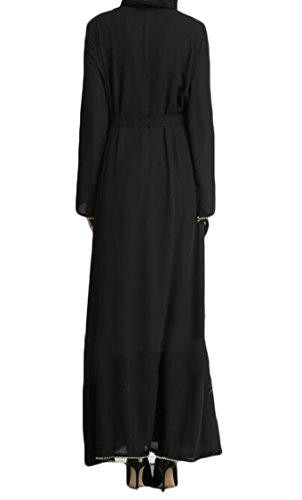 Women's Muslim Dubai Long Jaycargogo Casual Black Sleeve Islamic Maxi Kaftan Robe wqqpdB